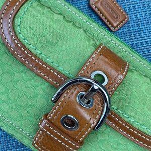 Coach green signature flat wristlet